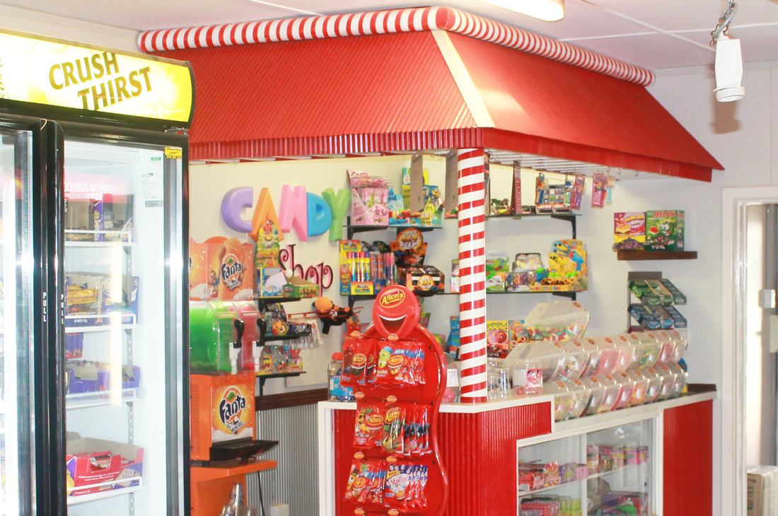 Candy store, Kiosk & Caltex Service Station